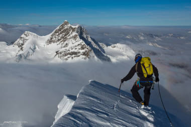 Summit of the Monch with the Jungfrau in the background
