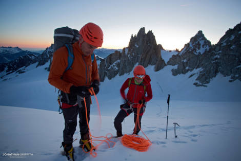 Jeff Mercier and Ally Swinton rope up beneath the Chardonnet