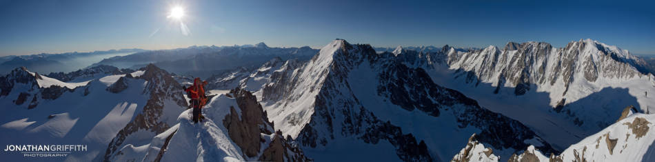 Summit panoramic on the summit of the Aiguille de Chardonnet