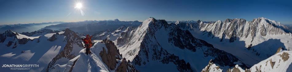 Summit panoramic on the summit of the Aiguille de Chardonnet