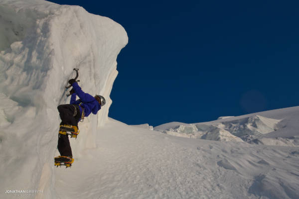 Tom on some serac ice on the N face of the Tacul at sunset