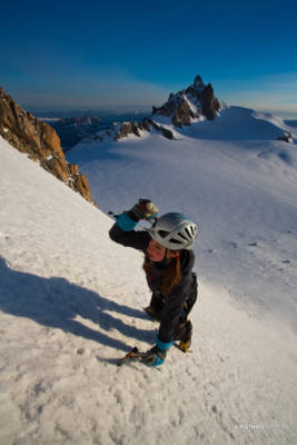 Kelly on Left Edge, Aiguille du Midi in the background
