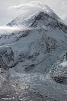A Moody Mt Everest and its vast Base Camp