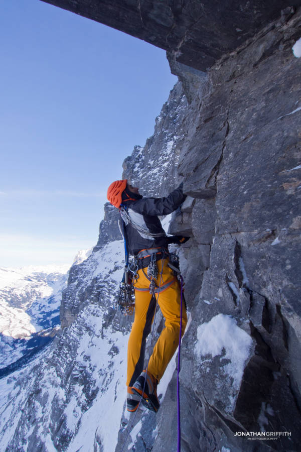 Ueli Steck questing up Metanoia on the North Face of the Eiger