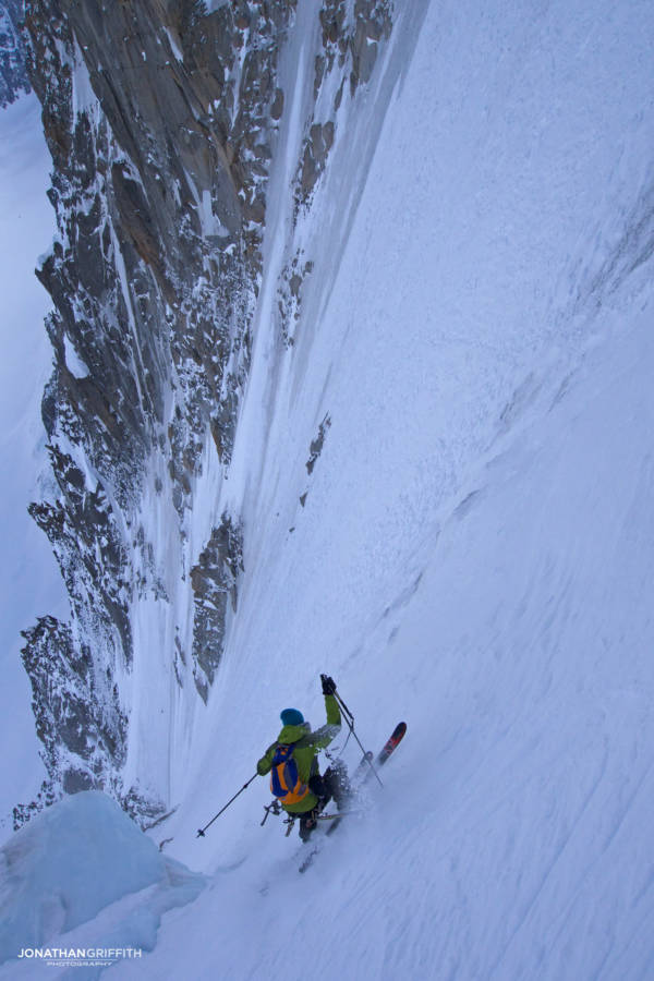 Ben Briggs skiing the Couturier Couloir on the Aiguille Verte