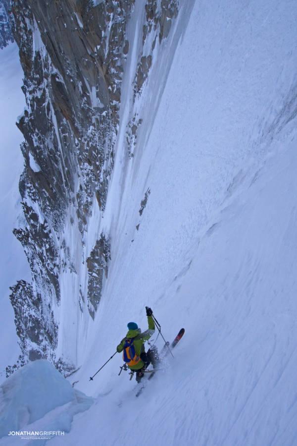 Ben Briggs skiing the Couturier Couloir on the Aiguille Verte