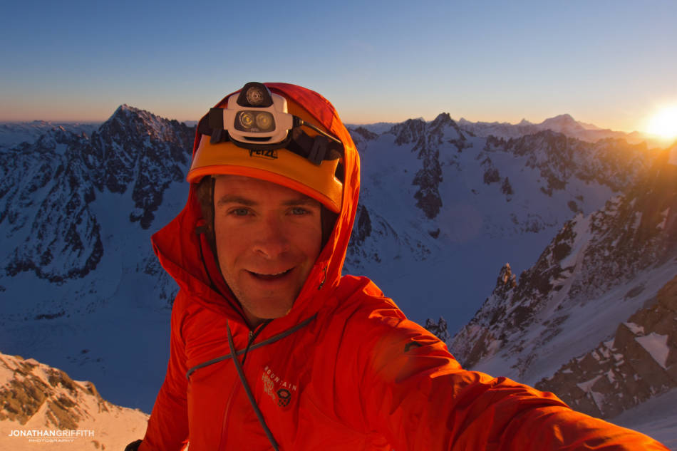 One down two to go. On the Aiguille Verte at sunrise