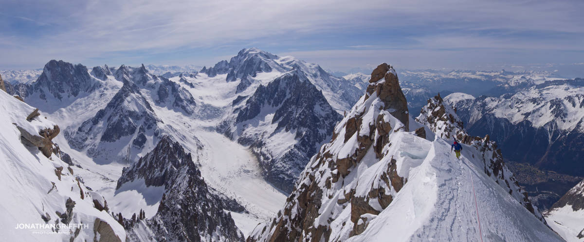 Ally on the Sans nom ridge with Mont Blanc in the background