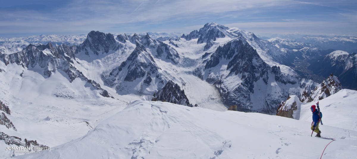 Summit pano from the Verte of the Jorasses and Mont Blanc