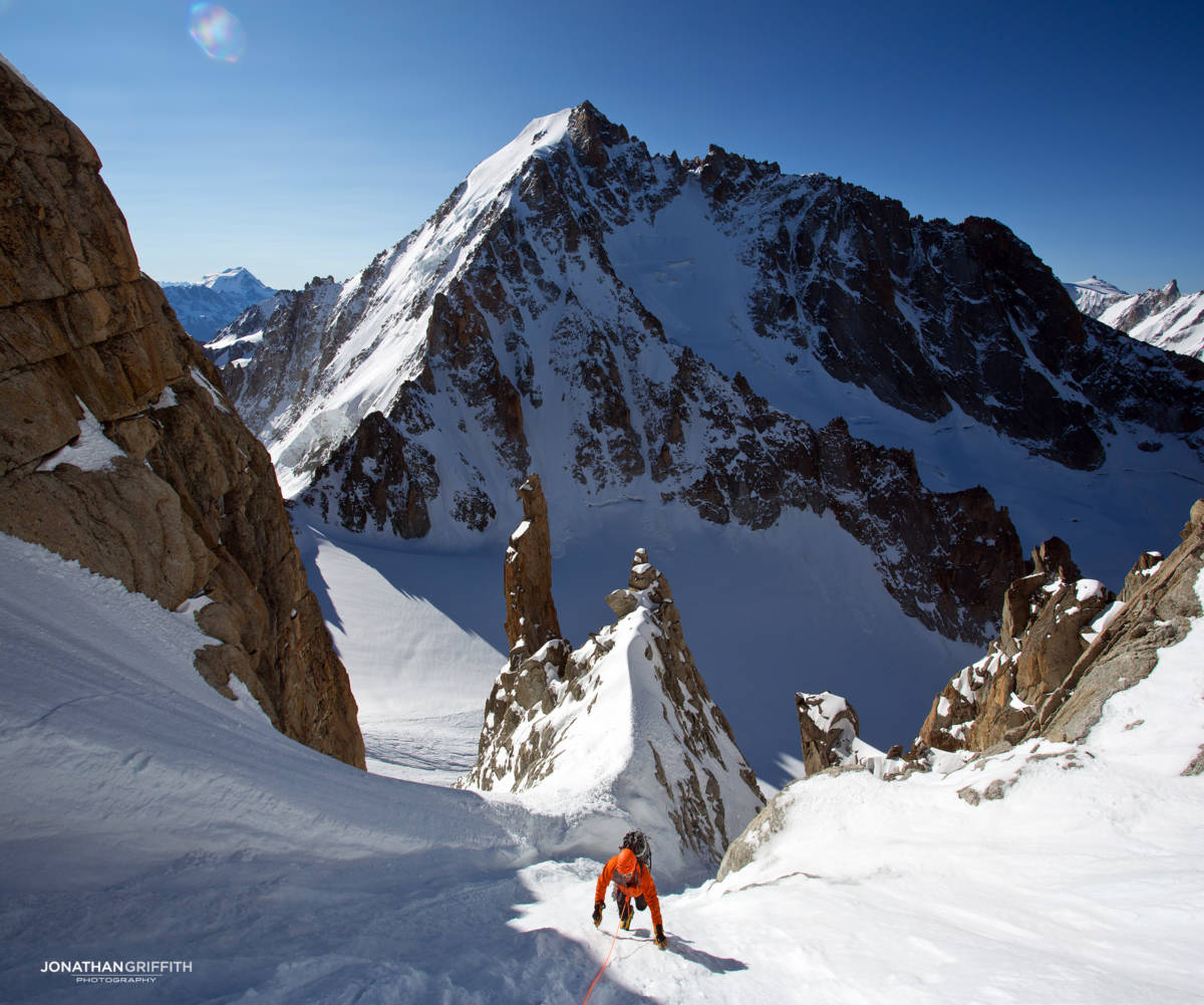 Descending the Chardonnet to the Argentiere in the background