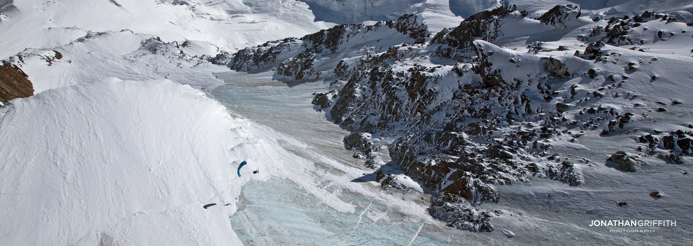 Aaron lost in the vast expanse of the West Face of the Monte Rosa