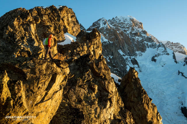 Ally on the Aiguilles Rouges at sunrise with Mont Blanc in the background