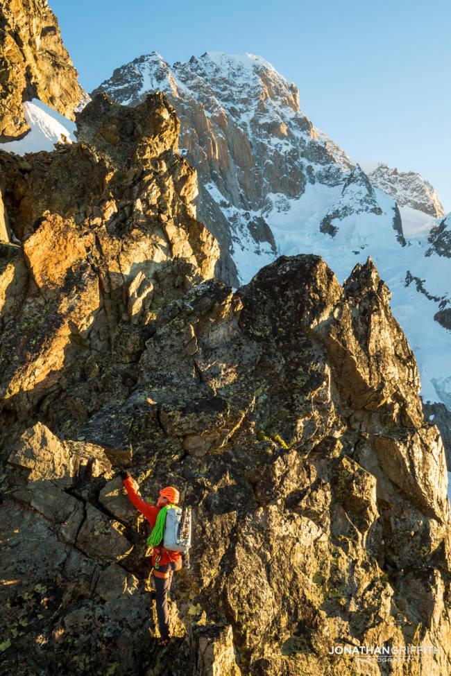 Fun, fast, ridge scrambling on the Aiguilles Rouges at sunrise