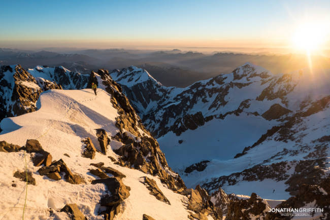 Sunset high up on the Brouillard Ridge to the summit of Mont Blanc. Nice but cold