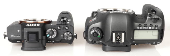 A Sony A7 next to a Canon 5D, ephotozine.com