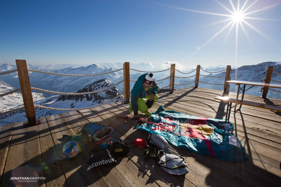 Aaron prepares his kit in the hut on the Monte Rosa