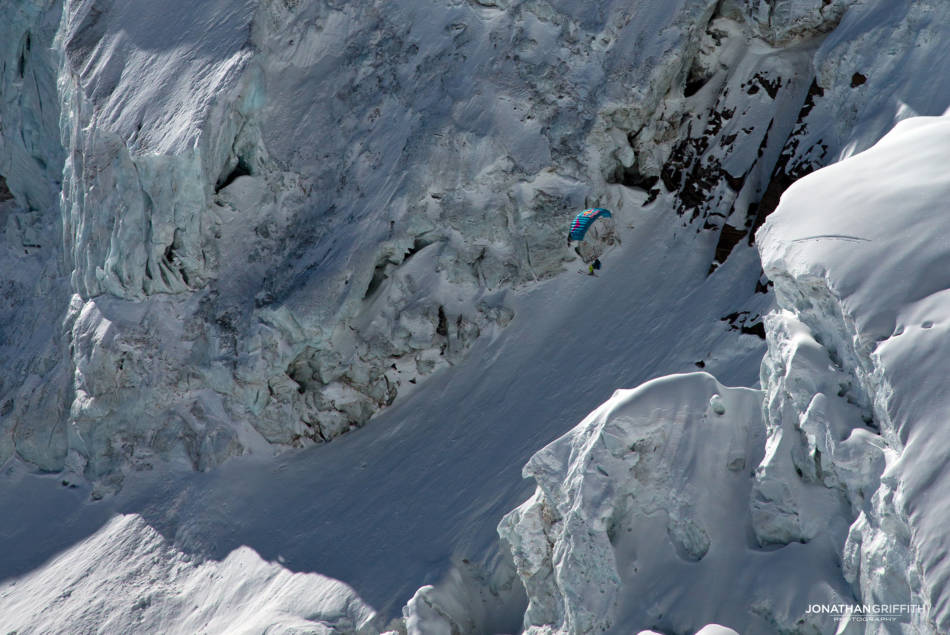 Weaving between seracs on the Monte Rosa West Face