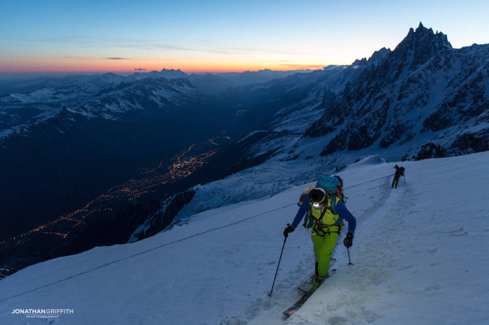 Leaving the Grands Mulets hut at dawn on Mont Blanc