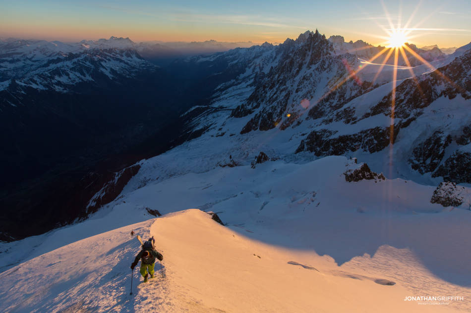 High up on the Royal Arete on Mont Blanc at sunrsise