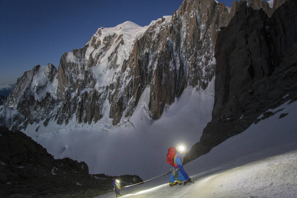 Full moon on the approach with Mont Blanc in the background