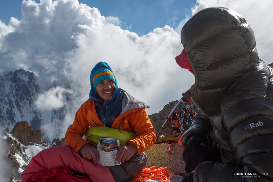 Bivy on the summit of the Aiguille d'Argentiere