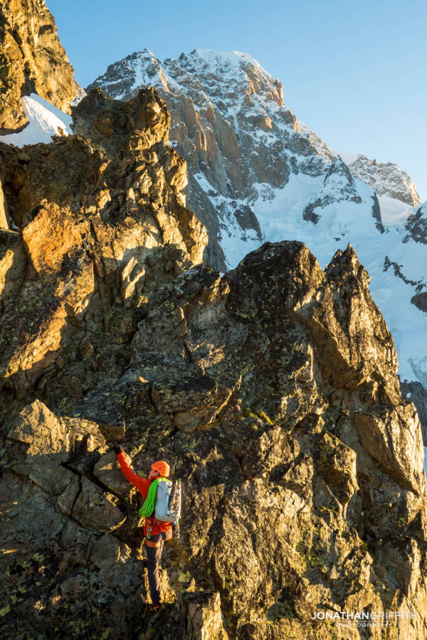 Fun, fast, ridge scrambling on the Aiguilles Rouges at sunrise