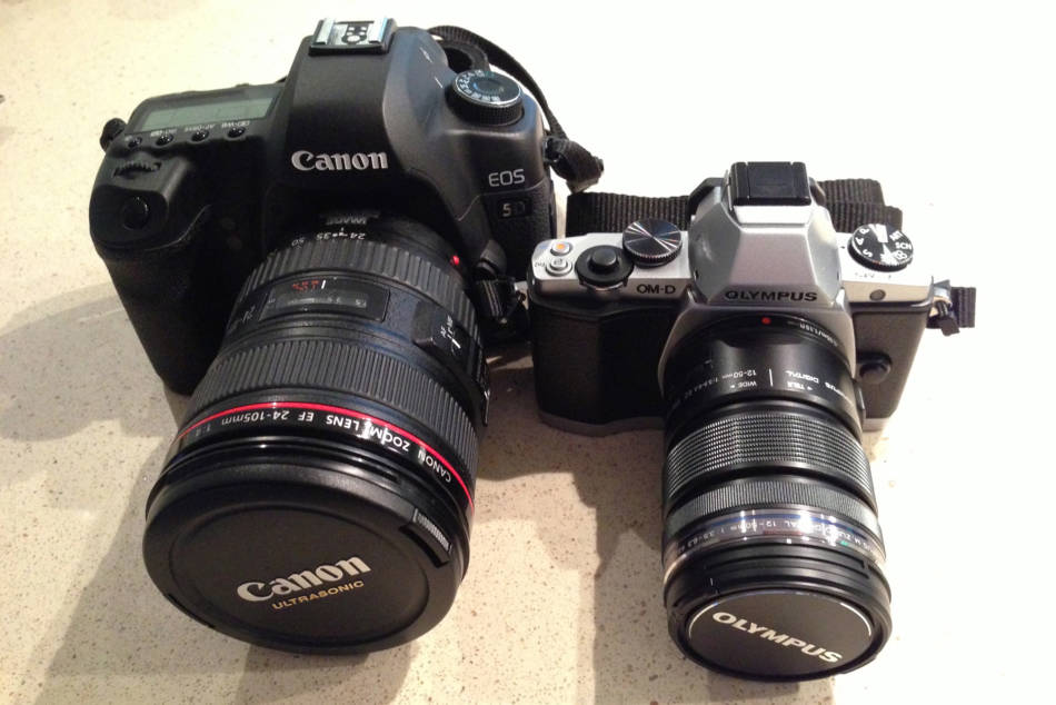 A side by side of the EM-5 and 5D,you can see why I prefer the EM5 for light and fast missions © http://rboyle.co.uk