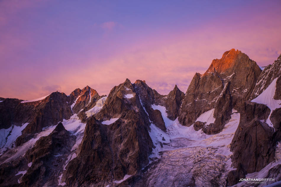 Magical sunset over the Petit Jorasses