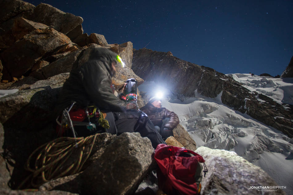 Quick brew on our descent down the Italian side under a full moon