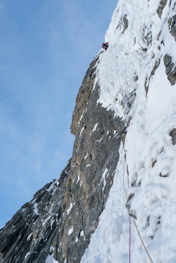 On the crux ice pitch, © Will Sim