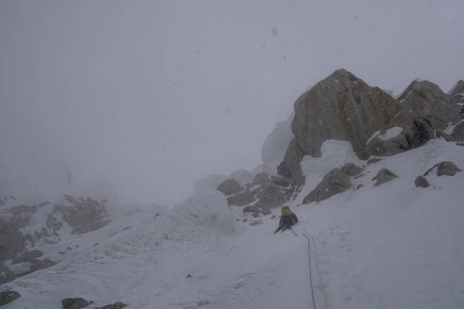Trying to find a break in the cornices above in the storm