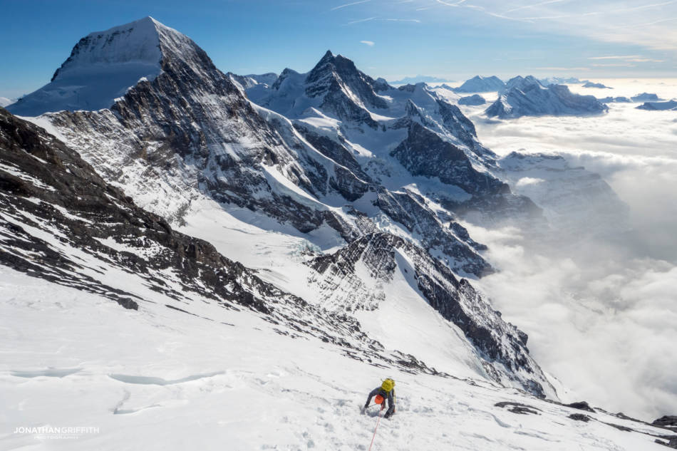 Descending down the West Face of the Eiger