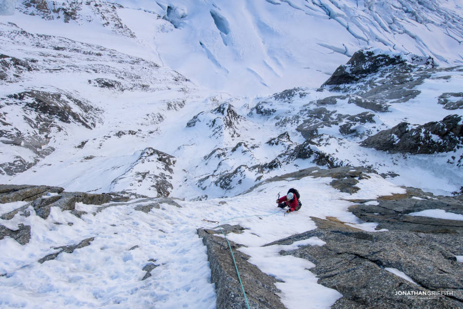 The rather airy ramp traverse back on the Polish