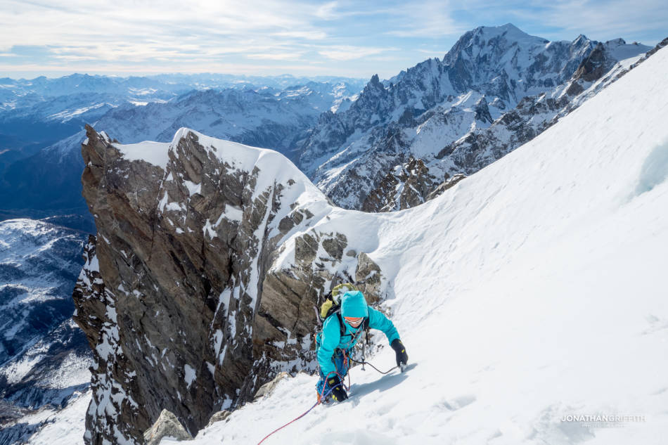 Will topping out from the Hypercouloir, Mont Blanc in the background