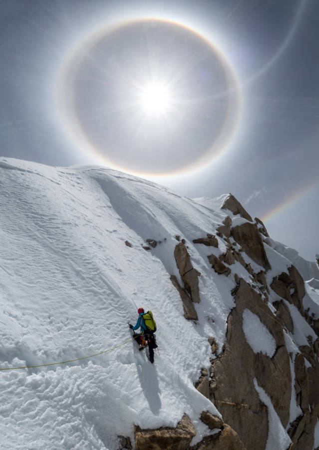 The summit ridge under ice halos