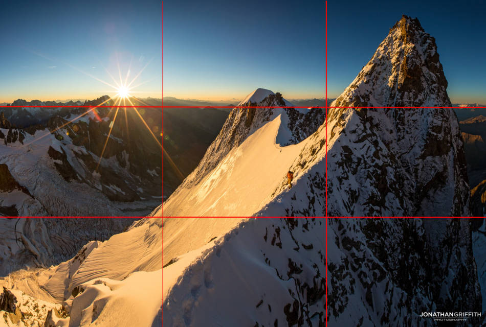 When you want to take it to the next level you can think in Rule of Nines. Try and have interesting stuff balanced out in each box- in there instance I've got the sun top left, the climber middle, and summit top right.