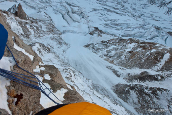 Two climbers on the Colton Macintyre far below